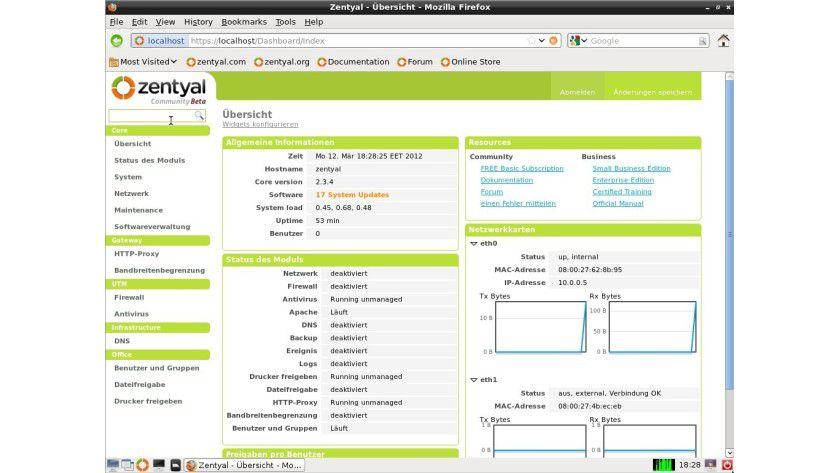 Zentyal 2.3: Das Dashboard der Linux-Distribution ist informativ.