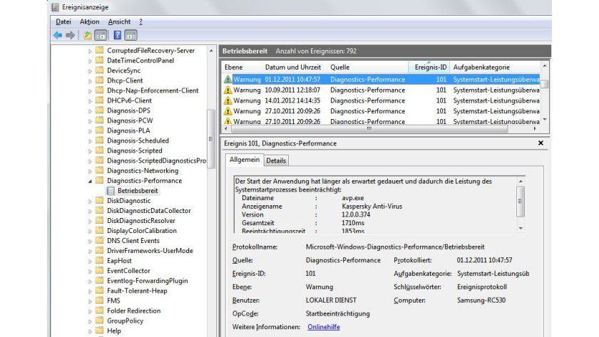 Im Detail: In der Ereignisanzeige verrät Windows exakt, welche Programme Probleme bereiten und den Start verzögern.