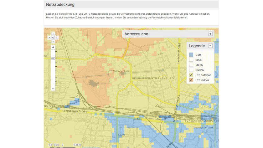 Ein Wunschtraum: Obwohl im Nymphenburger Schlosspark laut der Vodafone-Karte sowohl Indoor- (rot) als auch Outdoor-LTE (gelb) verfügbar sein sollten, weigerte sich das Velocity 4G standhaft, die neue Technik zu nutzen.