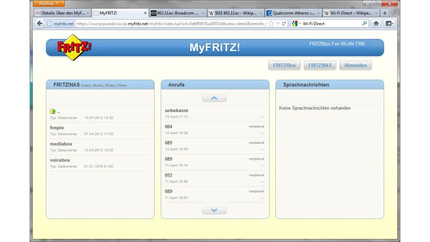 Wichtige Details: Über den MyFritz!-Online-Service von AVM kann der Nutzer weltweit seine Fritz!Box und die entsprechenden NAS- und Telefon-Funktionen direkt mithilfe eines Web-Browsers abrufen.