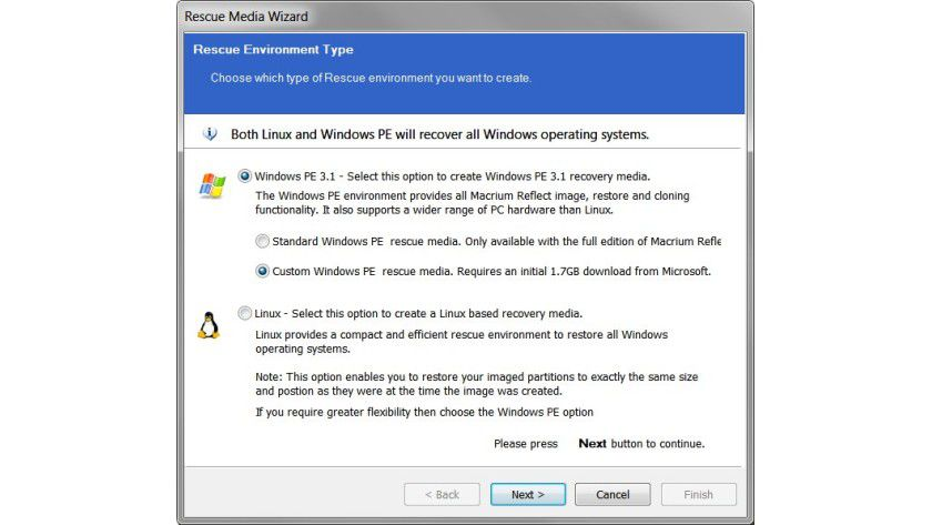 Rettungsumgebung: Als Notfallmedium bietet das Tool an, eine Live-CD mit Windows PE oder Linux zu erstellen.