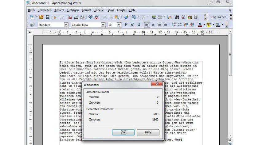 Punktgenau: In OpenOffice-Writer lässt sich über Extras / Wörter zählen feststellen, wie viele Zeichen ein Dokument umfasst.