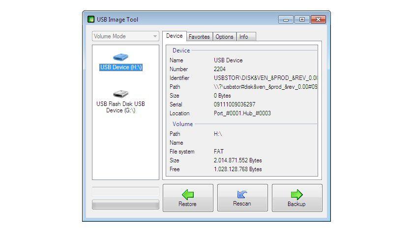 Infos: Die kostenlose Software USB Image Tool verwaltet und archiviert komplette USB-Sticks.