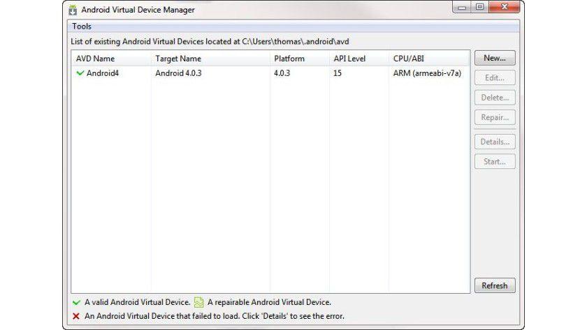 Android Virtual Device Manager: Hier können Sie Ihre Emulatoren verwalten.