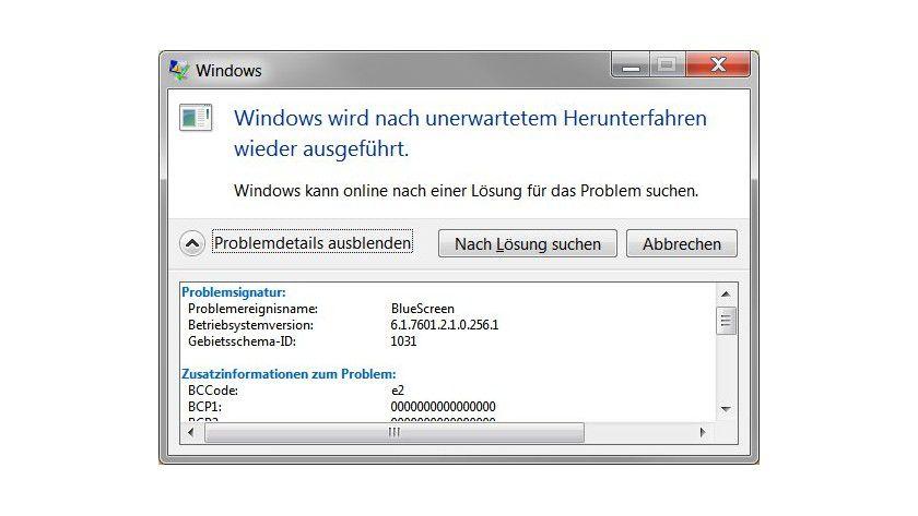 Kryptisch: Die Fehlerbeschreibung von Windows nach einem Bluescreen führt im Allgemeinen nicht zur Lösung.