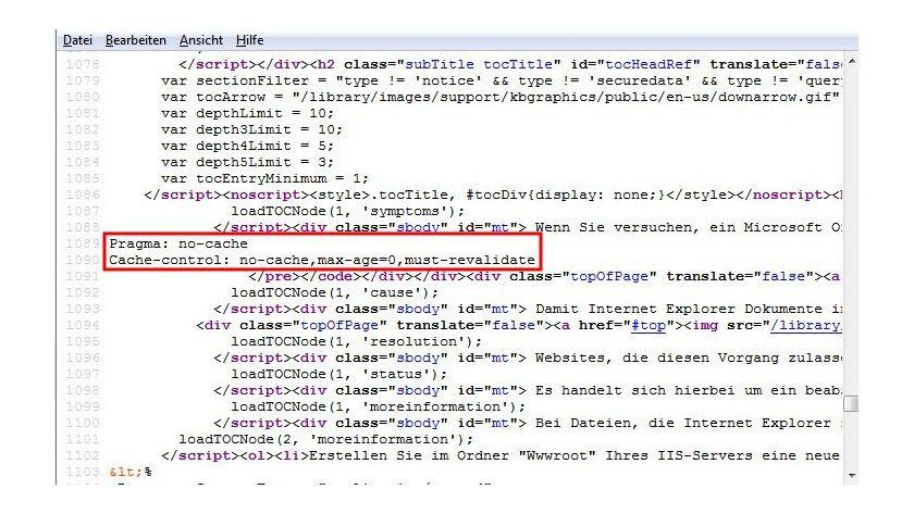 Kein Cache: Überträgt der Server in seiner Antwort einen oder beide no-cache-Header, lassen sich Office-Dokumente über den Internet Explorer nicht öffnen.
