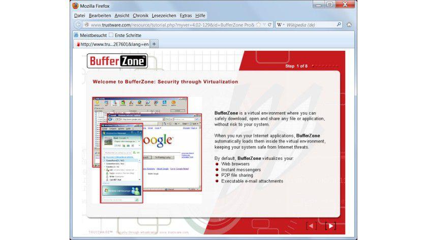 Kurzanleitung: In einem achtseitigen Tutorial kann sich der Anwender mit BufferZone Pro vertraut machen.