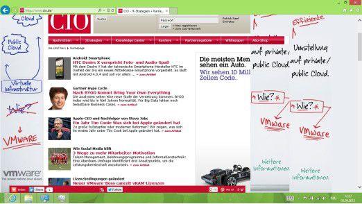 Der mitgelieferte Browser, IE10, in der Desktop-Umgebung von Windows 8.