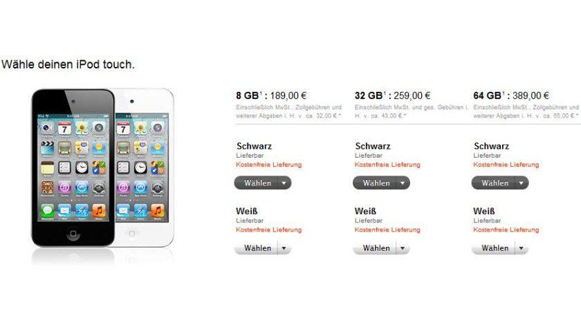 Ab 198 Euro im Apple-Store: Die deutschen Preise für den iPod-Touch.
