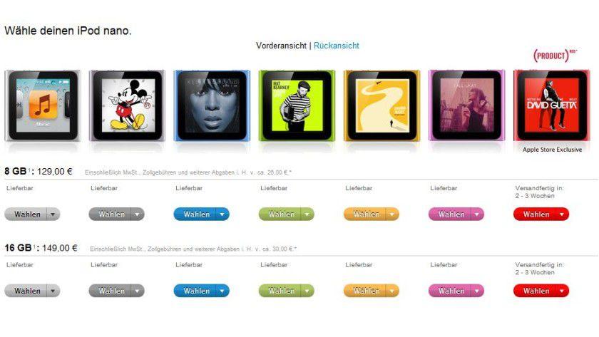 Auch nicht billig: Im deutschen Apple-Store startet der iPod Nano ab 129 Euro.
