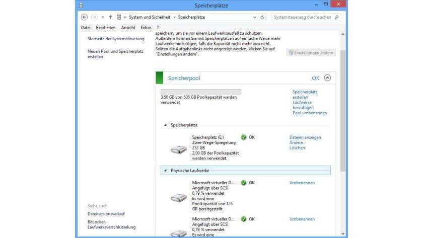 Windows 8: Speicherpools und Speicherplätze verwalten Sie in der Systemsteuerung.