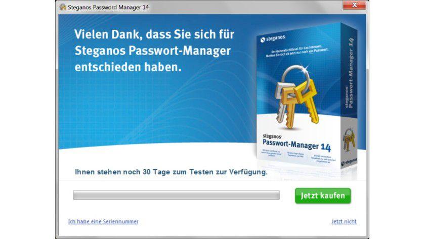 Testzeitraum: Bevor man den Steganos Passwort-Manager kauft, kann man 30 Tage kostenlos alle Funktionen ausprobieren.