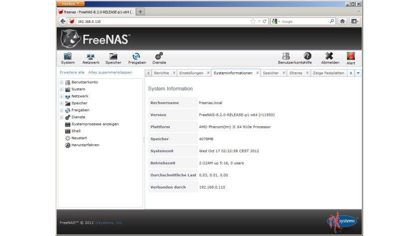 FreeNAS 8.2.0: Das Webinterface der Open-Source-Lösung für Netzwerkspeicher entspricht in der Bedienung und dem Funktionsumfang vielen professionellen Appliances.