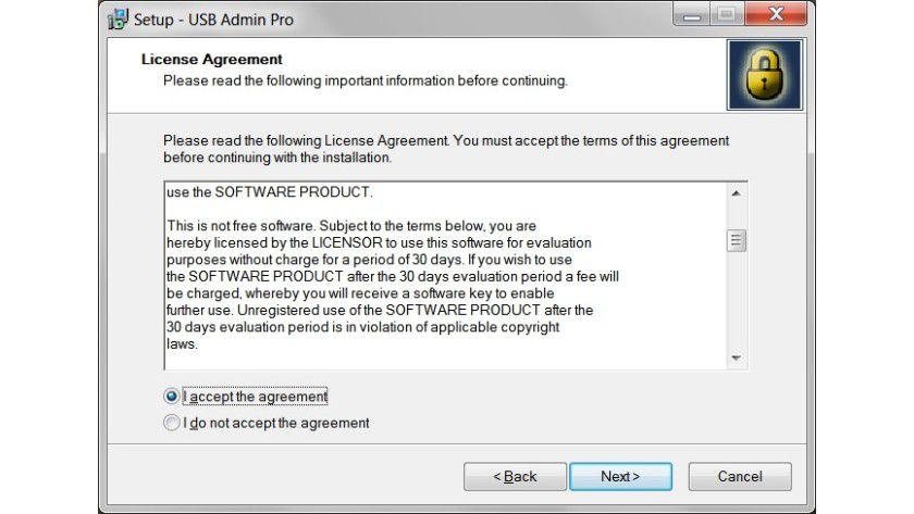 Lizenzvertrag: USB Admin Pro lässt sich 30 Tage ohne Einschränkung testen. Danach muss man eine Lizenz kaufen.