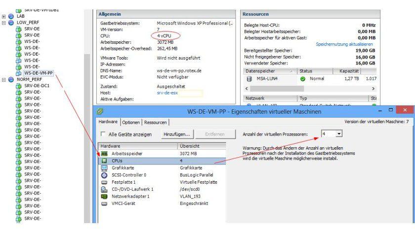 VMware: So konfigurieren Sie virtuelle CPUs in vSPhere.