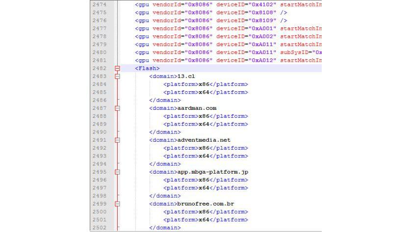 Whitelist: Über diese Datei wird gesteuert, welche Seiten im Metro-Browser Flash anzeigen können.