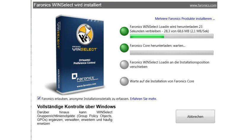 Nachladen: Die Setup-Routine von WINSelect Enterprise lädt die benötigten Komponenten erst aus dem Internet herunter.