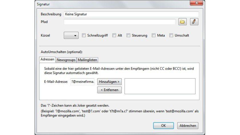 Flexibel: In den Regeln von Signature Switch kann der Benutzer festlegen, für welche Adressen die Standardsignatur entfallen soll.