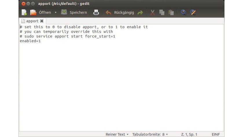Konfiguration: Um die Ubuntu-Fehlerberichte in Popup-Fenstern zu unterdrücken, reicht es, einen Eintrag zu ändern.