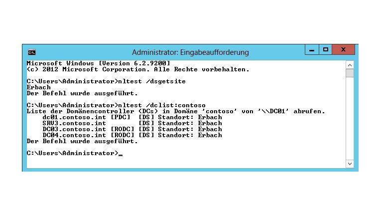 Läuft: Mit Nltest überprüfen Sie die Active-Directory-Standorte und Domänen-Controller.