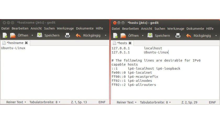 Anpassung: Um den Rechnernamen zu wechseln, müssen Sie ihn in zwei Dateien ändern.
