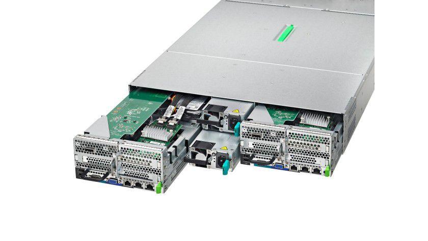 Fujitsu Primergy CX420: Cluster-Server-Plattform mit zwei Knoten. Diese besteht aus zwei Primergy CX420 S1-Servern, die nebeneinander in einer Server-Unit untergebracht sind.