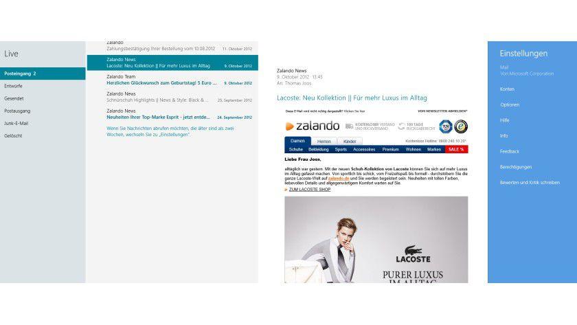 Flexibel: Sie können Outlook.com und andere E-Mail-Konten in der internen Mail-App von Windows 8 nutzen.