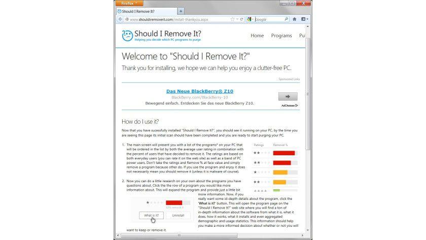 """Kurzhilfe: Beim erstmaligen Aufruf öffnet """"Should I Remove It?"""" eine Webseite, die in die Bedienung des Tools einführt."""