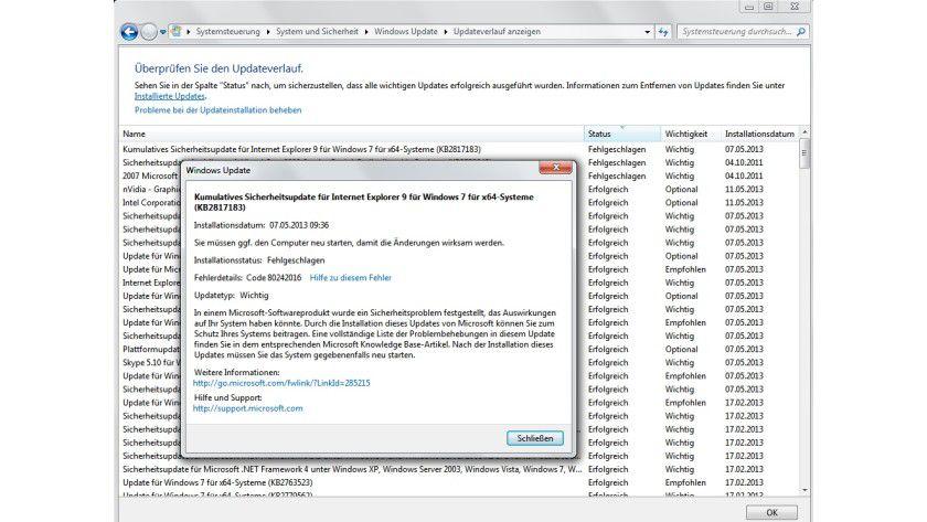 Recherchehilfe: Wer wissen möchte, warum ein Windows-Update nicht geklappt hat, findet im Verlauf wertvolle Hinweise, um das Problem zu lösen.