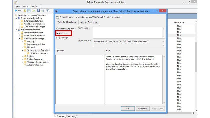 Sicherheitssperre: Mit einer Gruppenrichtlinie lässt sich in Windows 8 verhindern, dass jemand Apps auf der Startseite per Kontextmenü deinstalliert.