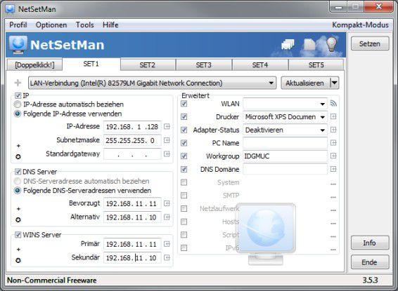 NetSetMan: Mit dem Tool lassen sich detaillierte Netzwerkprofile vom User erstellen und verwalten.