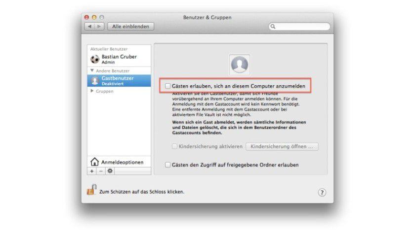 Über die Konten-Steuerung in den Systemeinstellungen kann man das Gast-Konto aktivieren. So können Gäste ohne Bedenken Zugriff auf Ihren Mac haben, ohne Anwendungen installieren oder Dateien speichern zu dürfen. Dieses Konto ist auch an Macs in Apple Stores aktiv.