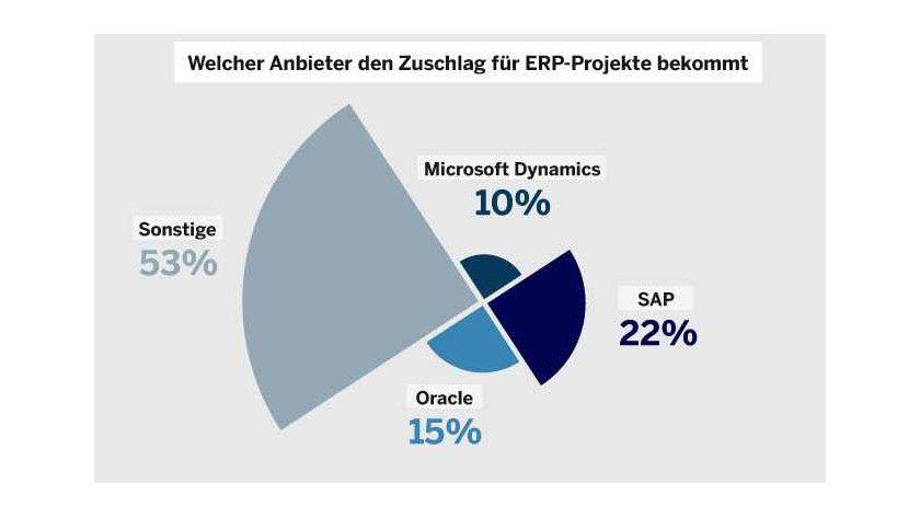 Wenig Große, viele Kleine: Den Markt für ERP-Systeme teilen sich laut einer Panorama-Consulting-Studie die Software-Riesen SAP, Microsoft und Oracle - sowie viele kleine Anbieter auf.