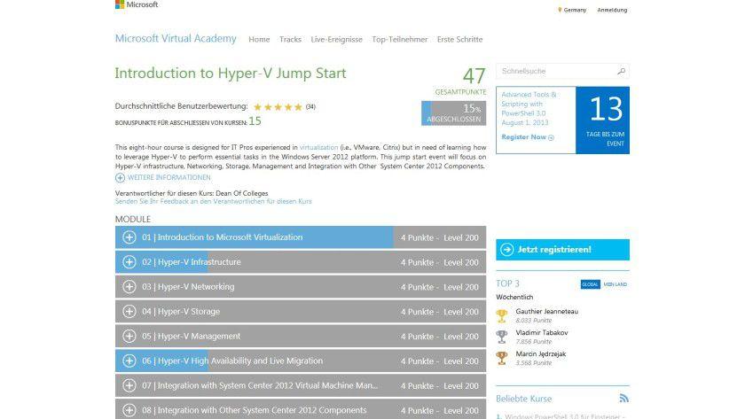 Virtuelles Lehrmaterial: Die Microsoft Virtual Academy (MVA) bietet eine Reihe von Kursen zum Thema Hyper-V an. Englischkenntnisse sind hierbei allerdings unverzichtbar.