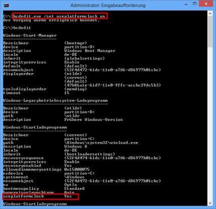 """Timer-Wechsel: Um eine andere Zeitquelle für Messungen zu verwenden, müssen Sie der Windows-Bootkonfiguration den Eintrag """"useplatformclock on"""" hinzufügen. Mit dem Befehl """"bcdedit"""" können Sie danach kontrollieren, ob die Änderung erfolgreich war."""