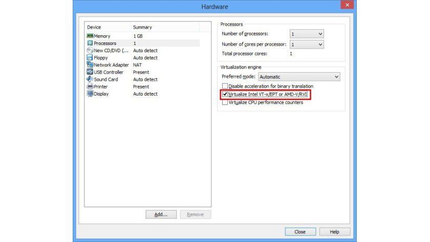 Hardware-Konfiguration: Um die CPU-Virtualisierung in VMware zu ermöglichen, müssen Sie die Funktion pro virtuelle Maschine über eine Checkbox einschalten.