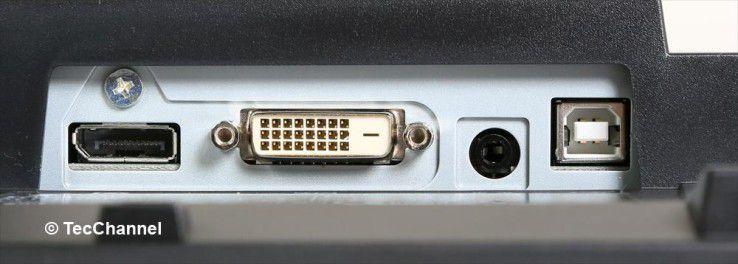 Zugänglich: Grafiksignale nimmt der Monitor per DisplayPort oder DVI entgegen.