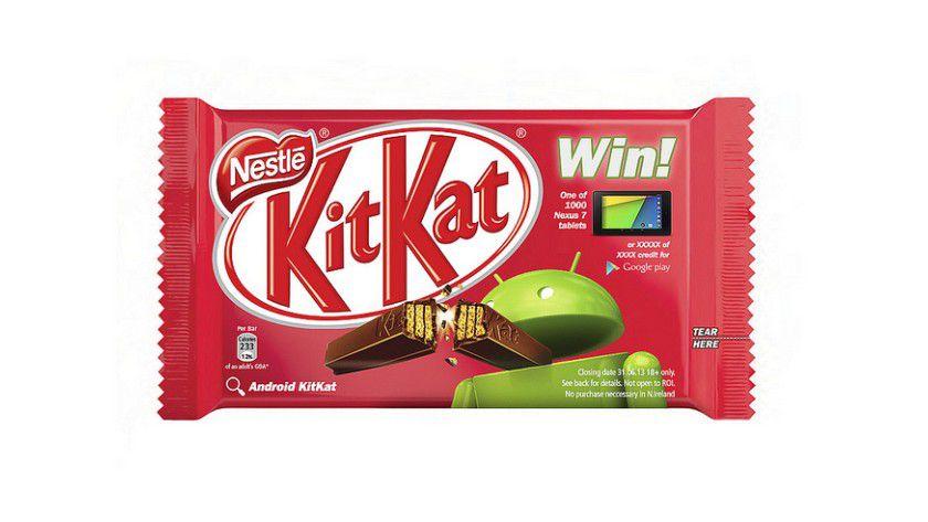 Vorlage: Das Brechen der KitKat-Riegel hat Nokia auf ein Android-Smartphone von Samsung adaptiert.