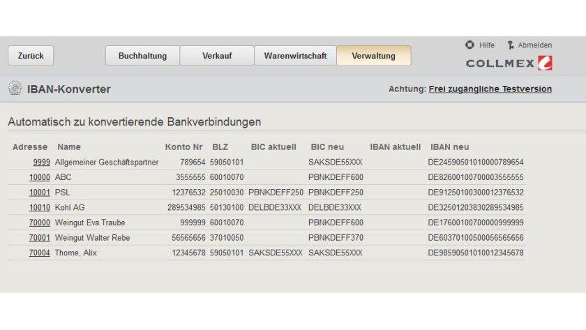 SEPA-Umstellung: Collmex bietet Anwendern seiner Buchhaltungslösung nun einen IBAN-Konverter.