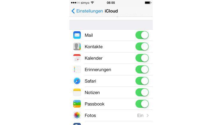 In den iCloud-Einstellungen können Sie festlegen, ob sich der Kalender auch mit iCloud synchronisieren soll, zusätzlich zum eigentlichen Kalender des E-Mail-Kontos.