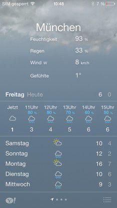 Trübe Aussichten: Wetter-App von Yahoo auf dem iPhone