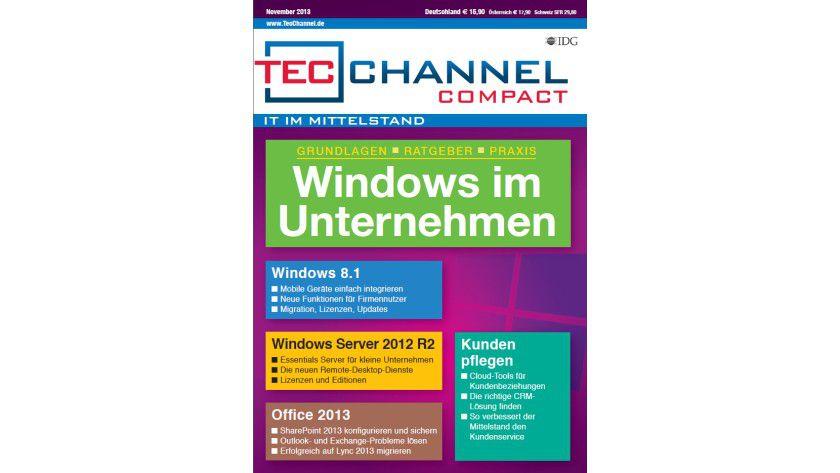 TecChannel Compact 08/2013: Auf über 160 Seiten nützliche Informationen den Einsatz von Windows und Office im Unternehmen.