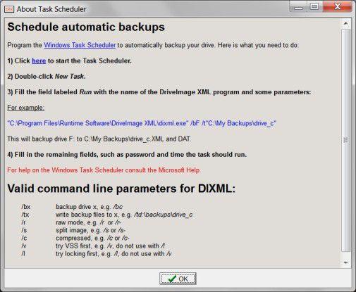 Mogelpackung: Eine programmeigene Funktion, um Backup-Jobs zeitgesteuert zu erledigen, fehlt. Stattdessen gibt es karge Hinweise zum Windows-Taskplaner.