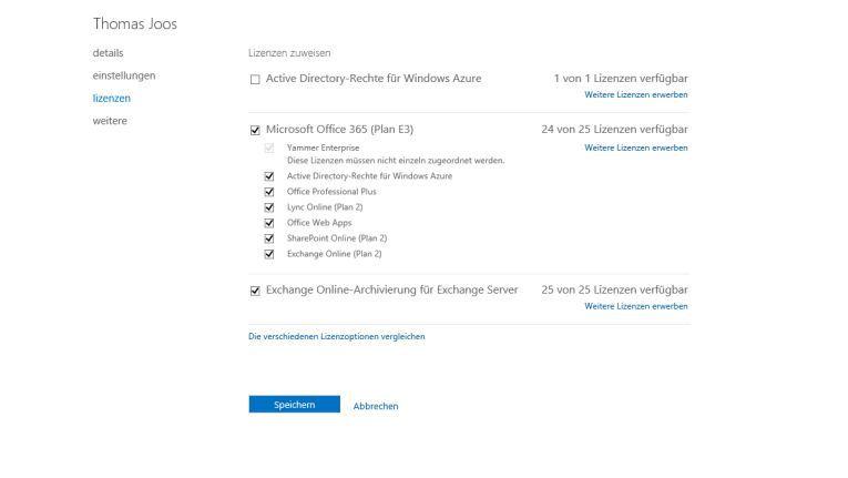 Verknüpfung: In der Verwaltungsoberfläche von Office 365 aktivieren Sie das Online-Archiv für Anwender, die ein Postfach auf lokalen Exchange-Servern nutzen.