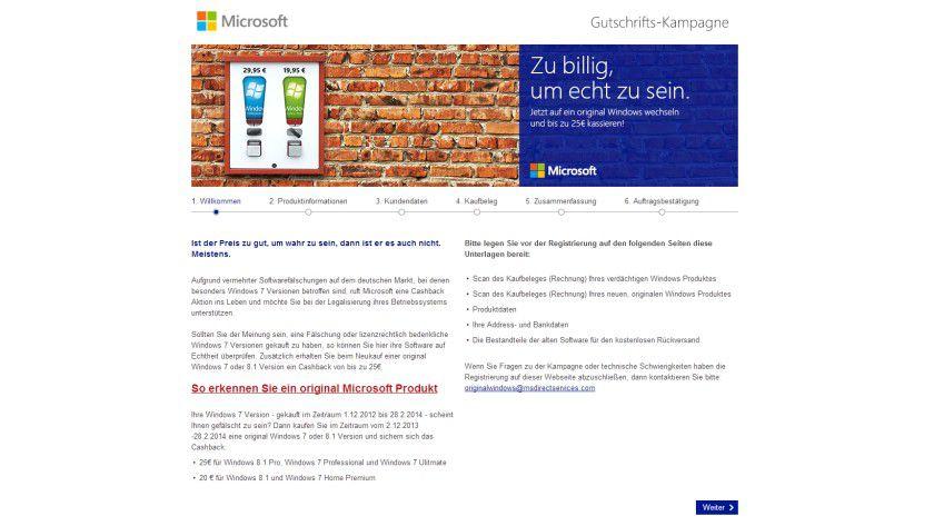Gutschriftkampagne: Wer von einer gefälschten zu einer Original-Version von Windows wechselt, erhält beim Erwerb der neuen Software Geld zurück.