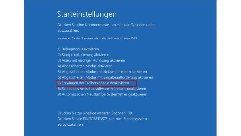 Erweiterte Startmöglichkeiten: Der Benutzer kann das Erzwingen der Treibersignatur in Windows 8 wie schon beim Vorgänger deaktivieren. Die entsprechende Option lässt sich aber nur umständlich erreichen.