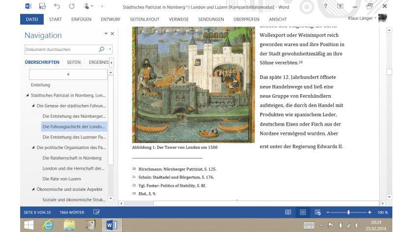 Word auf dem Tablet: Ein Vorteil der kompakten Windows-8.1-Tablet ist, dass hier ein vollwertiges Microsoft Office läuft.
