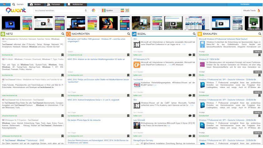 Suchmaschine: Qwant zeigt seine Ergebnisse in Spalten angeordnet an, die Resultate seine nicht personalisiert.
