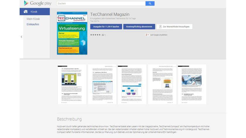Jetzt mit Android: Auch TecChannel ist im Google Play Kiosk - bei Gefallen freuen wir uns über eine positive Bewertung...
