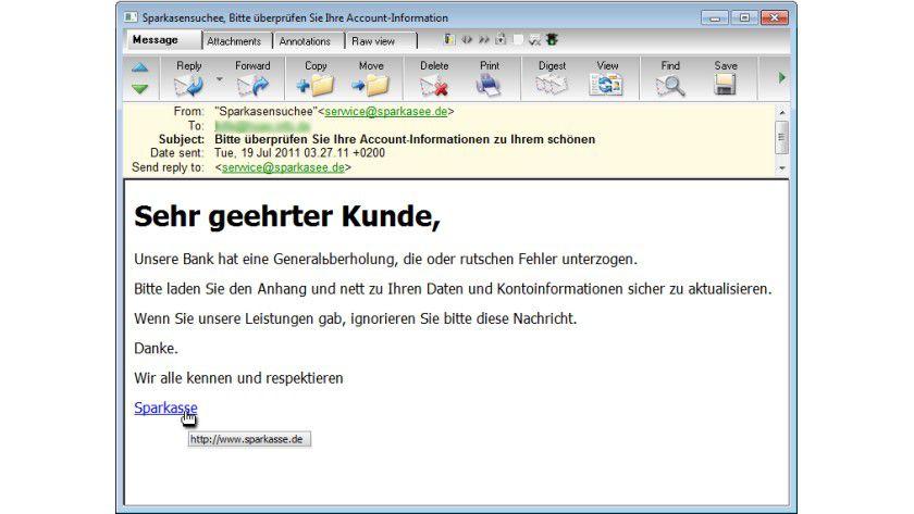 Fälschung: Pishing-Angriffe gaukeln aktuell Sparkassen-E-Mails vor.
